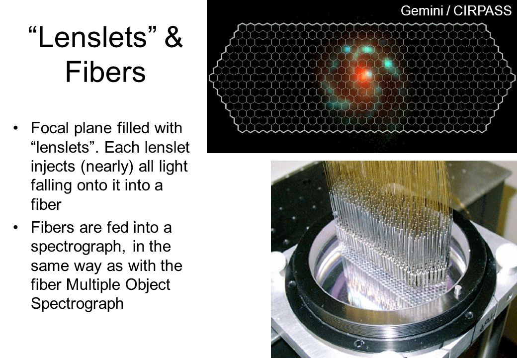 Gemini / CIRPASS Lenslets & Fibers. Focal plane filled with lenslets . Each lenslet injects (nearly) all light falling onto it into a fiber.
