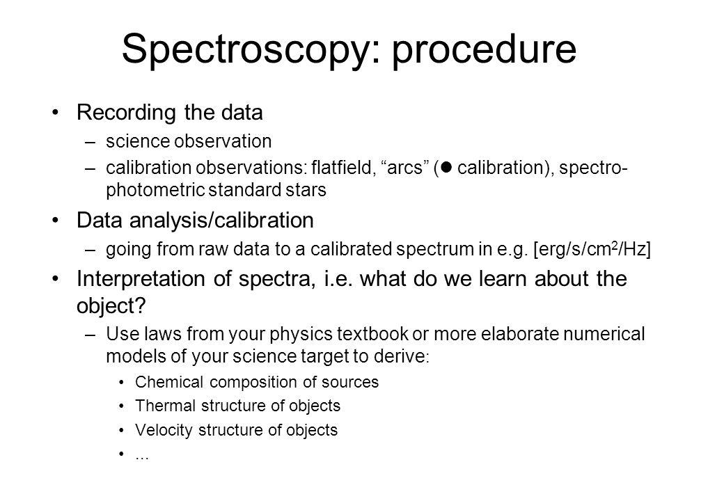 Spectroscopy: procedure
