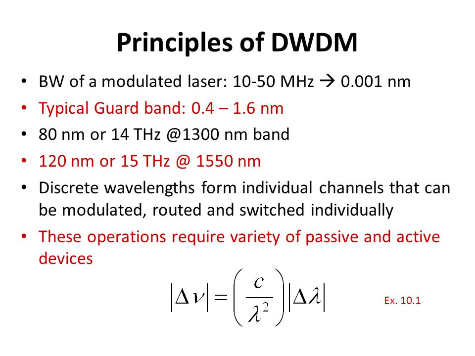 Principles of DWDM BW of a modulated laser: 10-50 MHz  0.001 nm