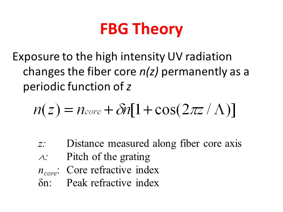 FBG Theory Exposure to the high intensity UV radiation changes the fiber core n(z) permanently as a periodic function of z.
