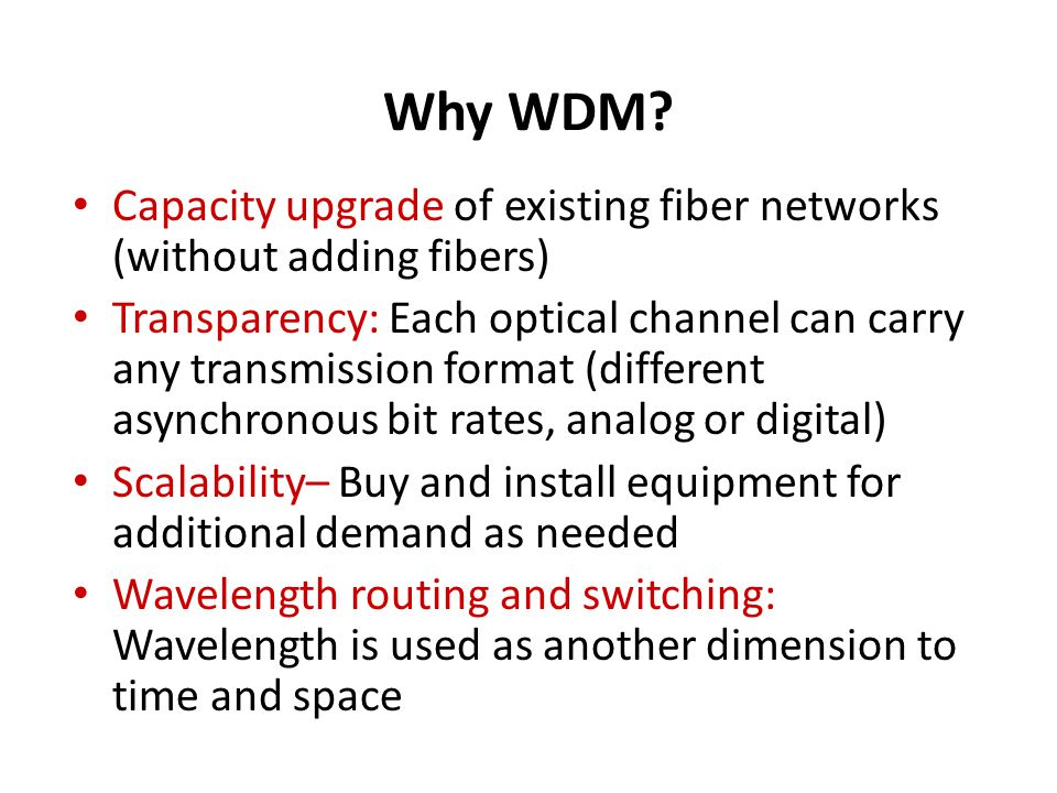 Why WDM Capacity upgrade of existing fiber networks (without adding fibers)