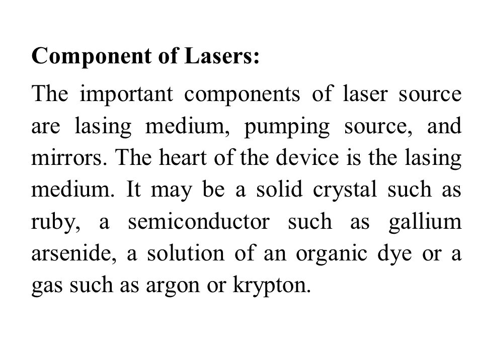 Component of Lasers:
