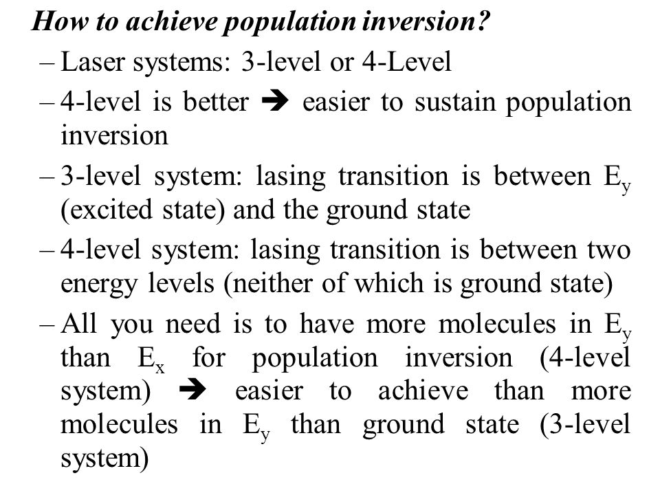 How to achieve population inversion