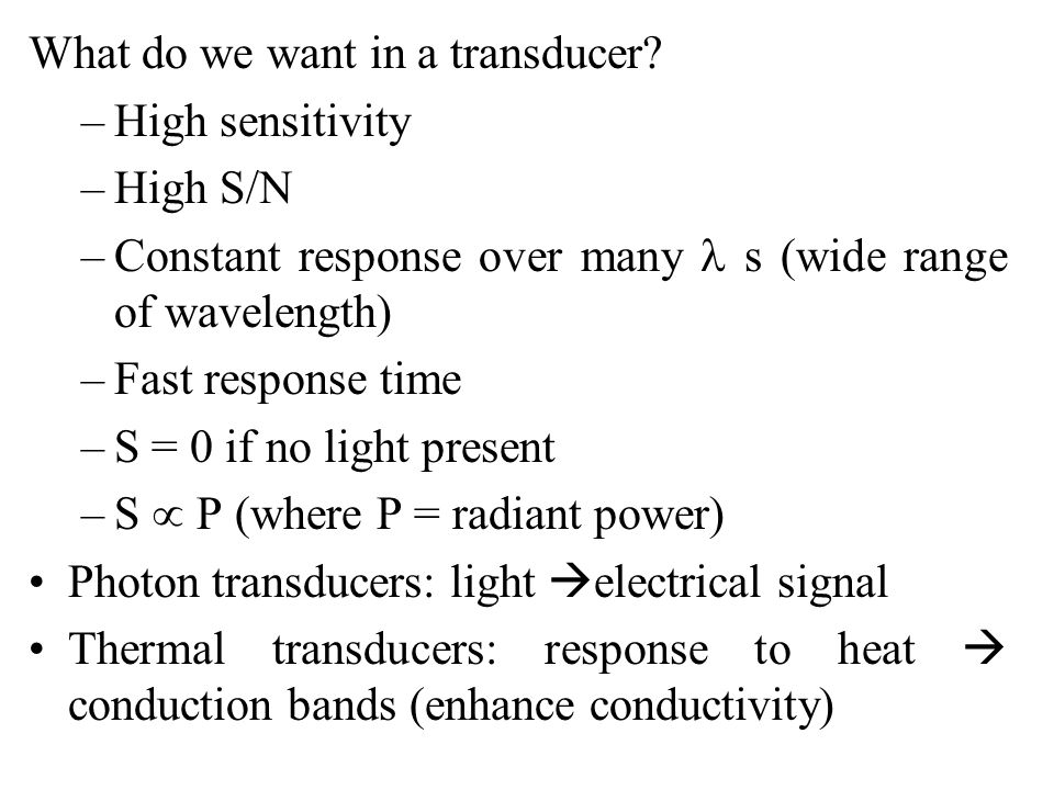 What do we want in a transducer