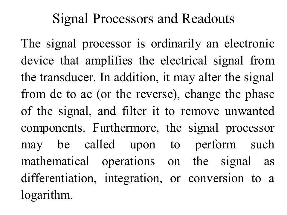 Signal Processors and Readouts