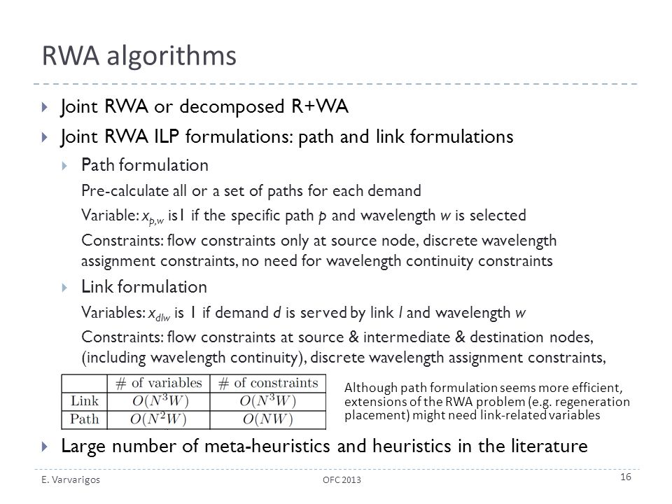 RWA algorithms Joint RWA or decomposed R+WA