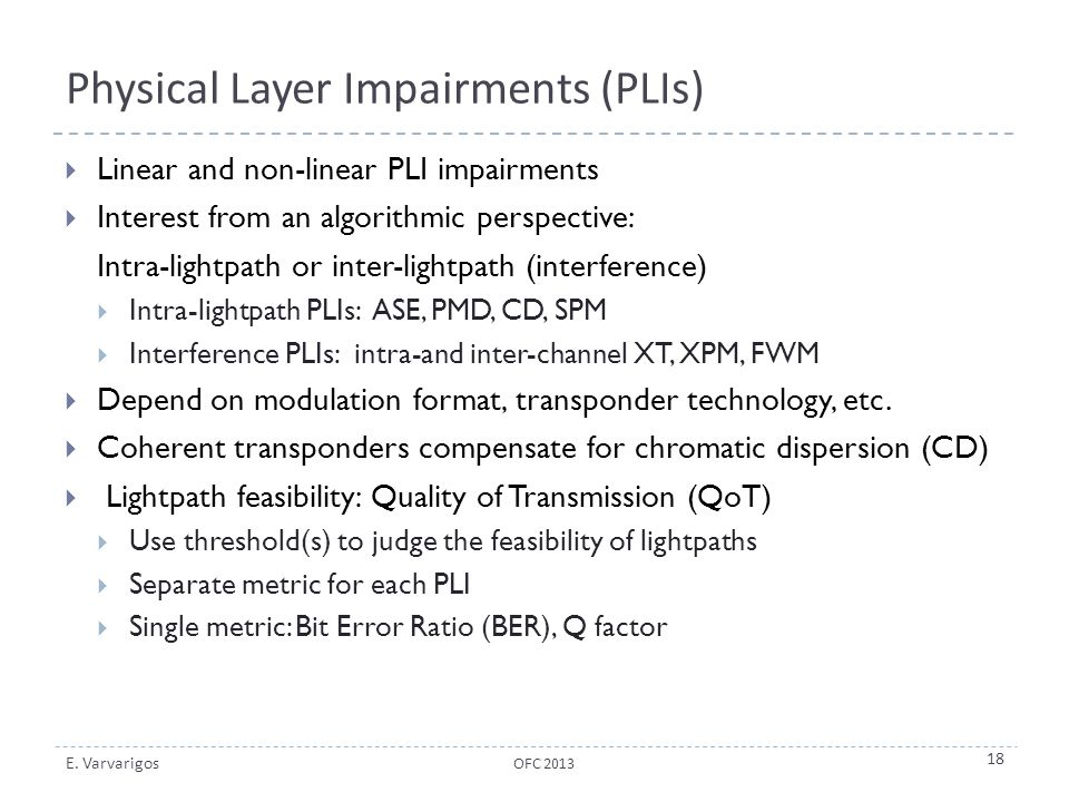 Physical Layer Impairments (PLIs)