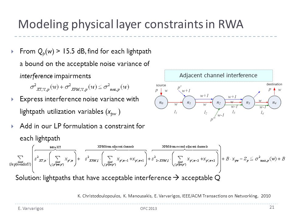 Modeling physical layer constraints in RWA