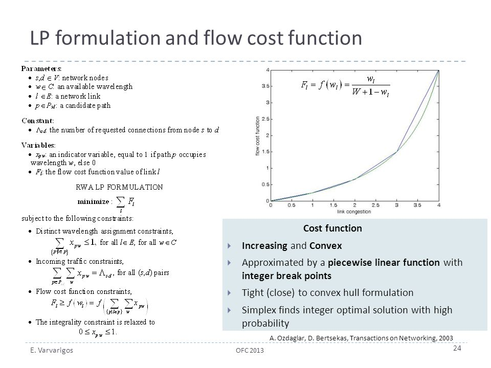 LP formulation and flow cost function