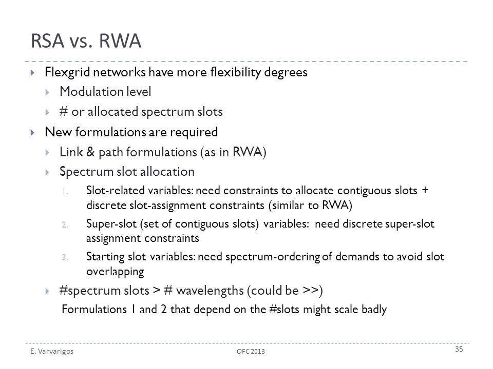 RSA vs. RWA Flexgrid networks have more flexibility degrees