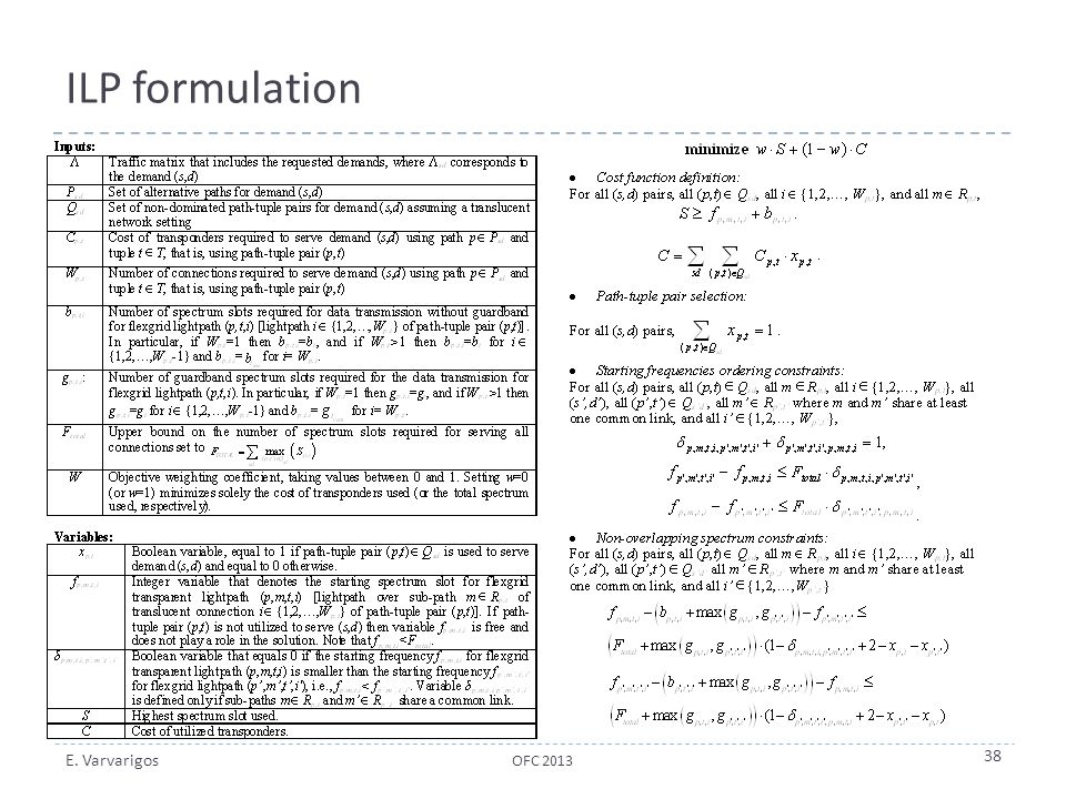 ILP formulation OFC 2013