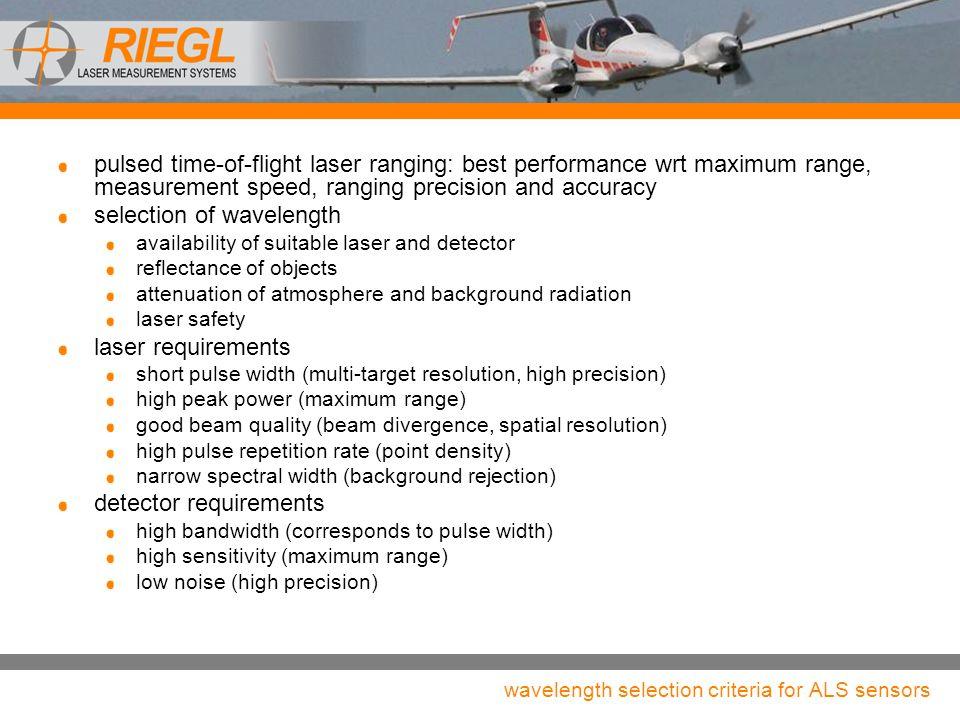 wavelength selection criteria for ALS sensors