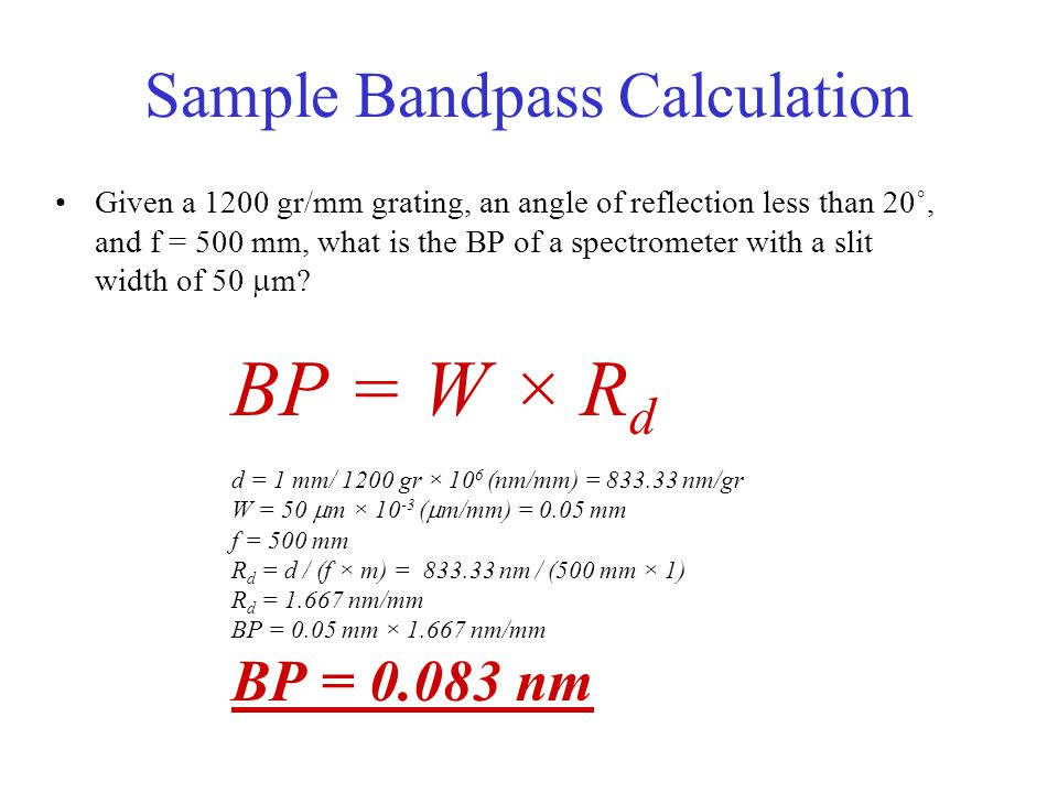 Sample Bandpass Calculation