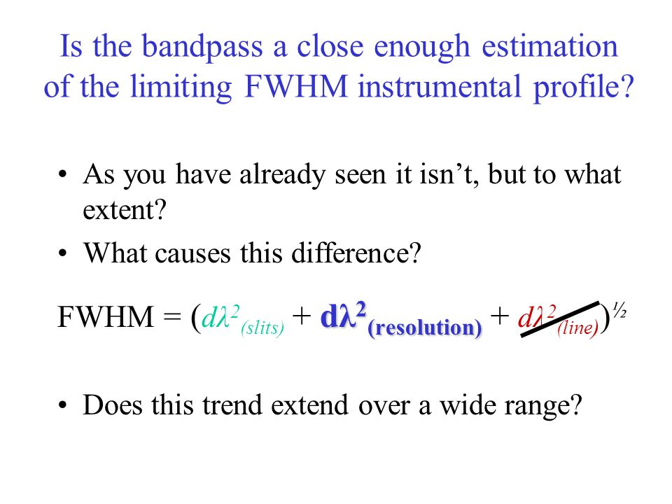 Is the bandpass a close enough estimation of the limiting FWHM instrumental profile