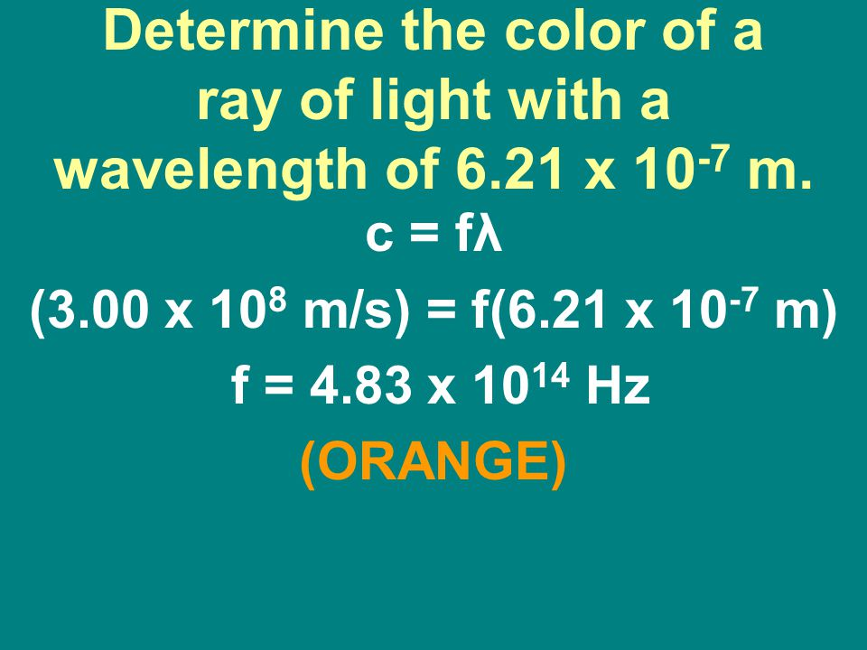 Determine the color of a ray of light with a wavelength of 6