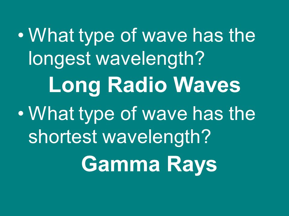 Long Radio Waves Gamma Rays