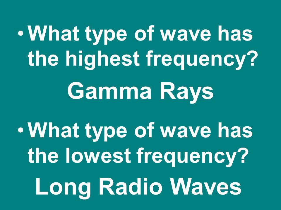 Gamma Rays Long Radio Waves