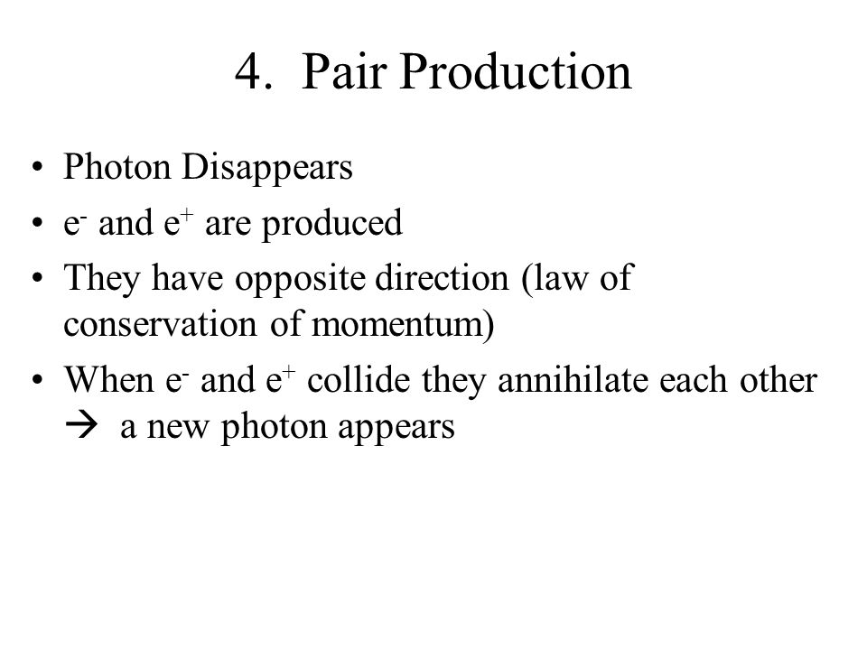 4. Pair Production Photon Disappears e- and e+ are produced