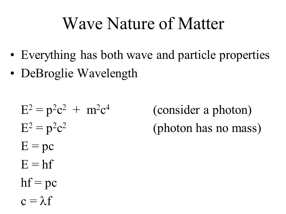 Wave Nature of Matter Everything has both wave and particle properties