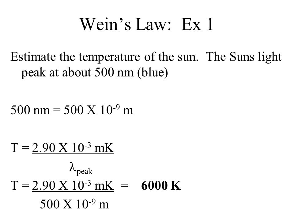 Wein's Law: Ex 1