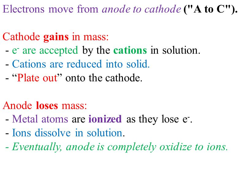 Electrons move from anode to cathode ( A to C ).