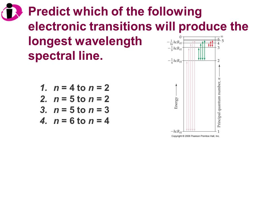 Predict which of the following electronic transitions will produce the longest wavelength
