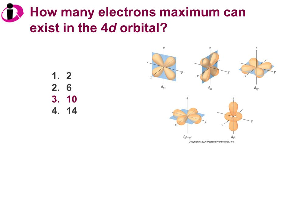 How many electrons maximum can exist in the 4d orbital