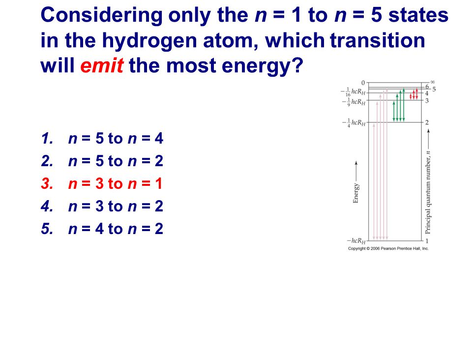 Considering only the n = 1 to n = 5 states in the hydrogen atom, which transition will emit the most energy