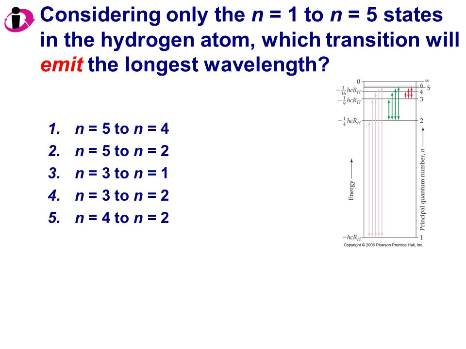 Considering only the n = 1 to n = 5 states in the hydrogen atom, which transition will emit the longest wavelength