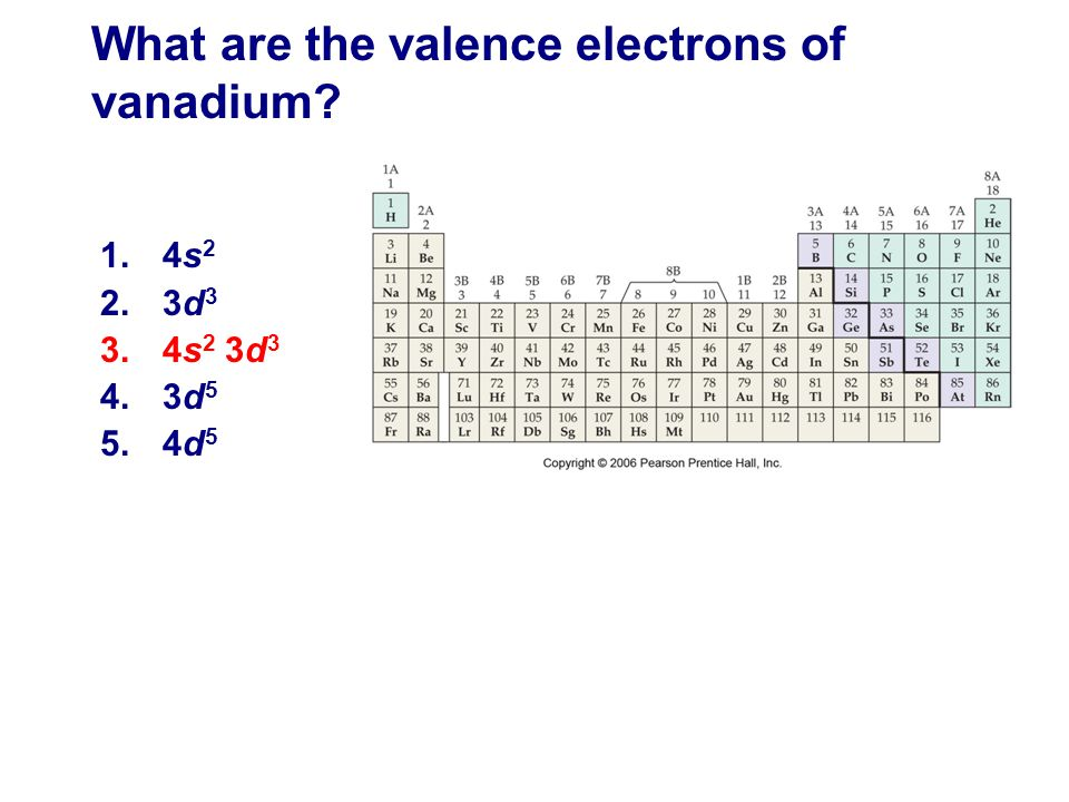 What are the valence electrons of vanadium