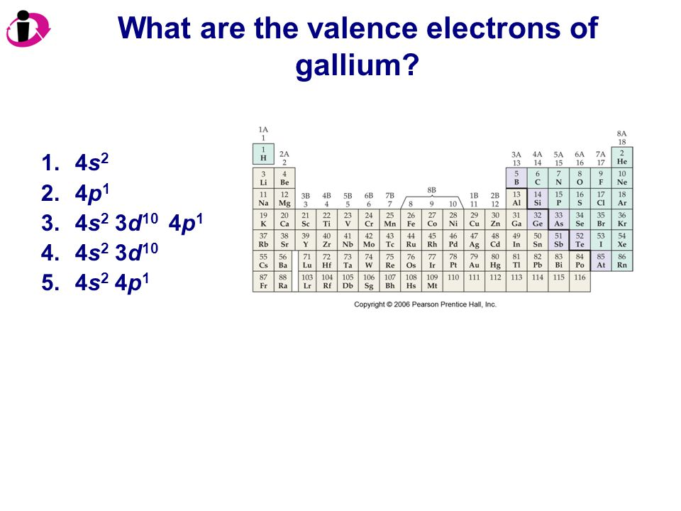 What are the valence electrons of gallium