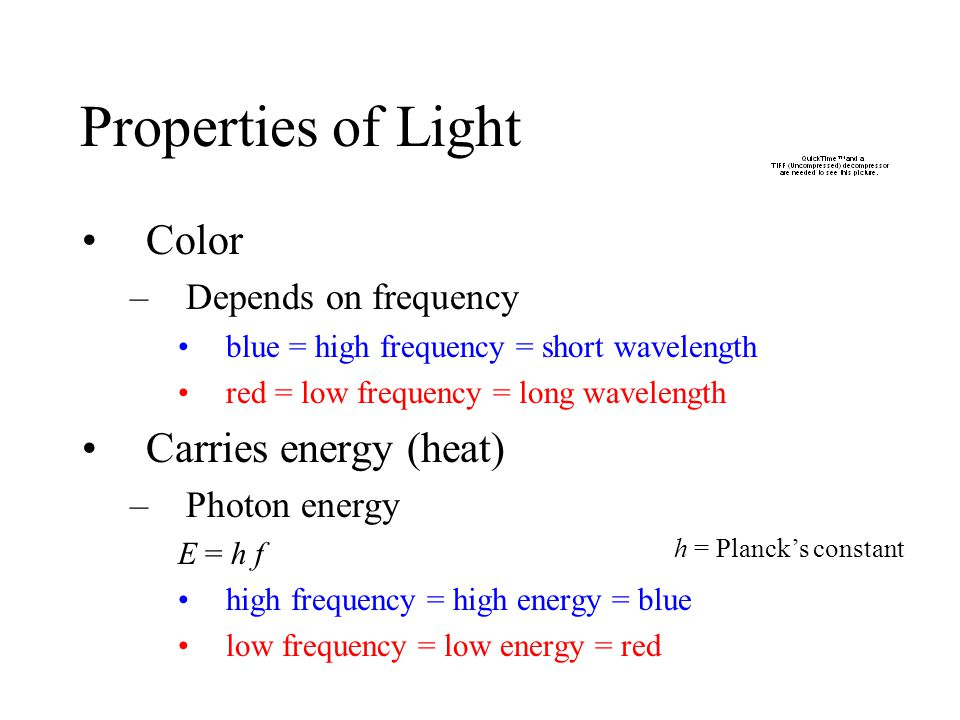 Properties of Light Color Carries energy (heat) Depends on frequency