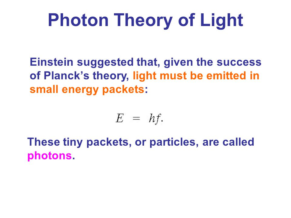 Photon Theory of Light Einstein suggested that, given the success of Planck's theory, light must be emitted in small energy packets:
