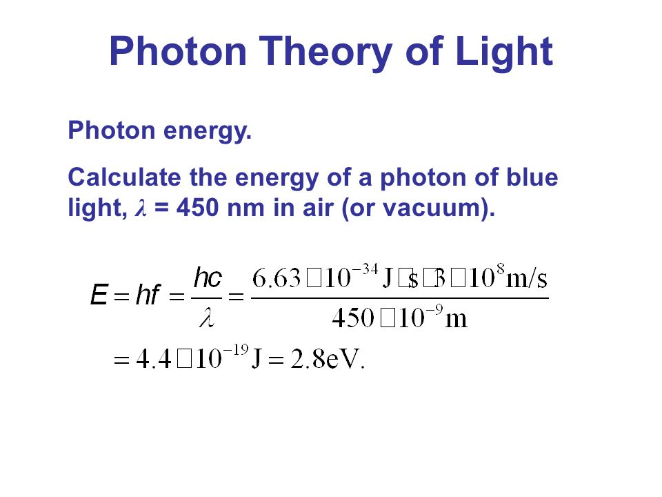Energy Of Photon Equation