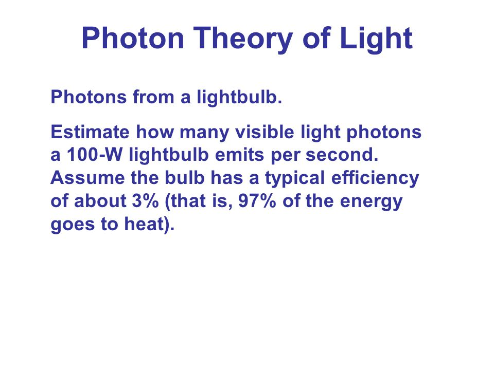 Photon Theory of Light Photons from a lightbulb.