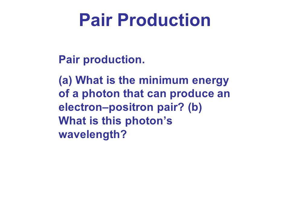 Pair Production Pair production.