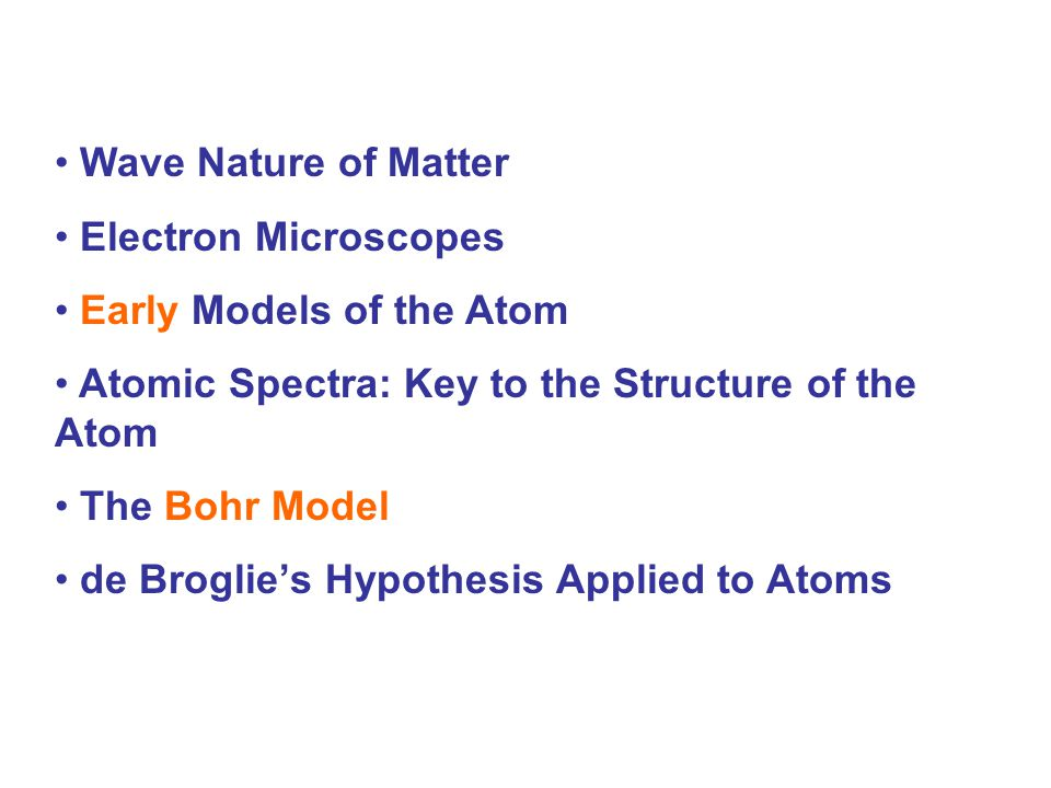 Wave Nature of Matter Electron Microscopes. Early Models of the Atom. Atomic Spectra: Key to the Structure of the Atom.