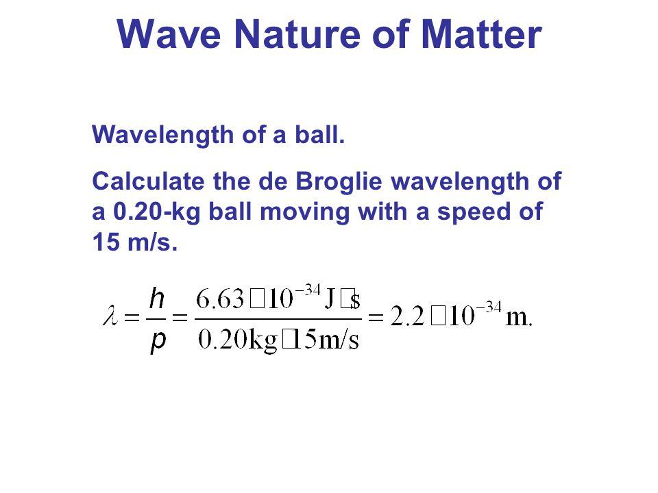 Wave Nature of Matter Wavelength of a ball.
