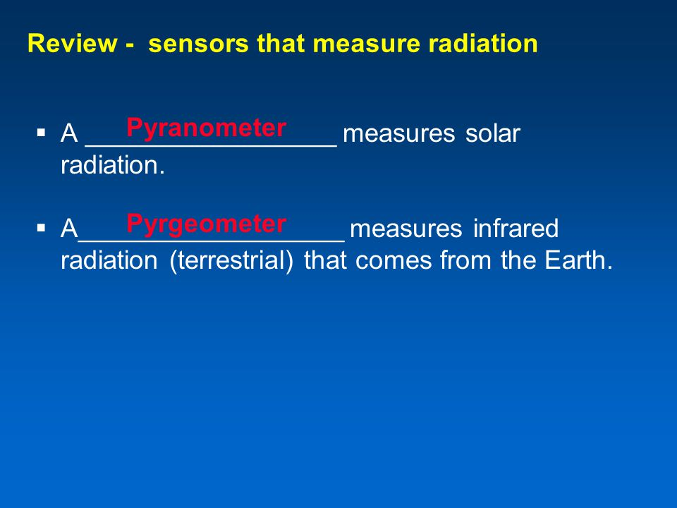 Review - sensors that measure radiation