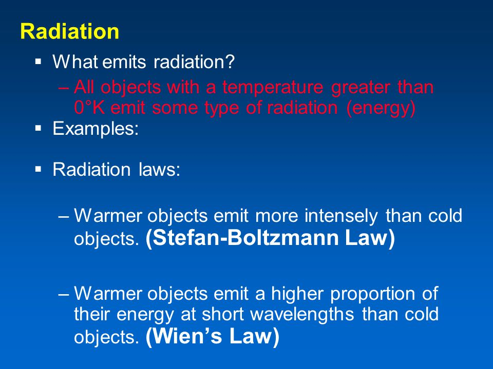 Radiation What emits radiation