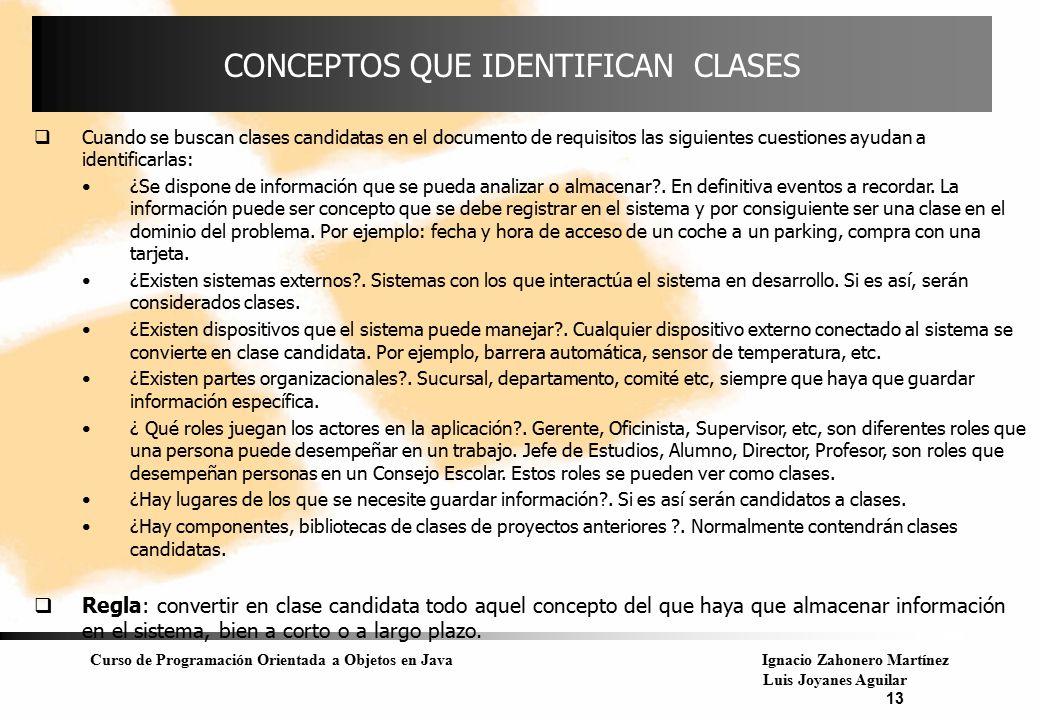 CONCEPTOS QUE IDENTIFICAN CLASES