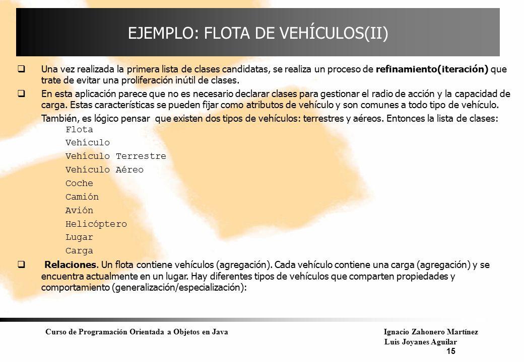 EJEMPLO: FLOTA DE VEHÍCULOS(II)