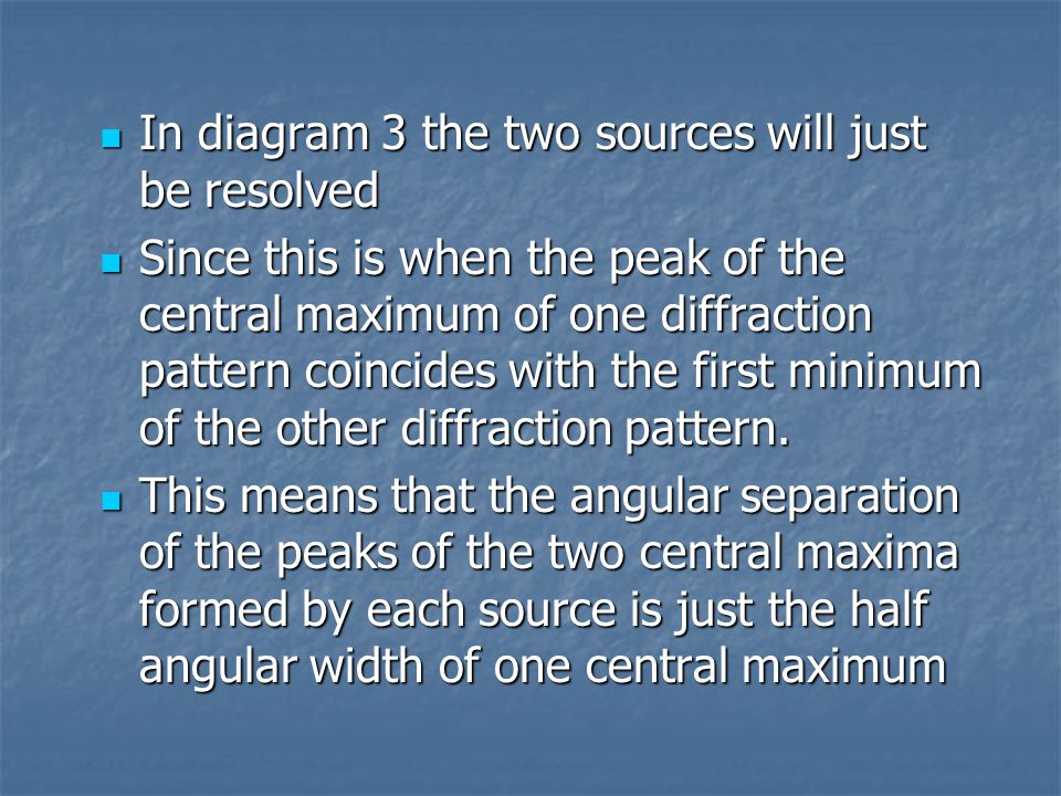 In diagram 3 the two sources will just be resolved