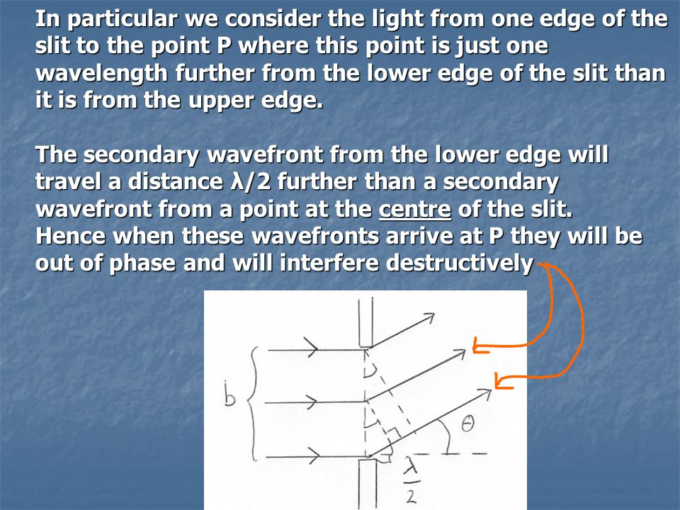 In particular we consider the light from one edge of the slit to the point P where this point is just one wavelength further from the lower edge of the slit than it is from the upper edge.