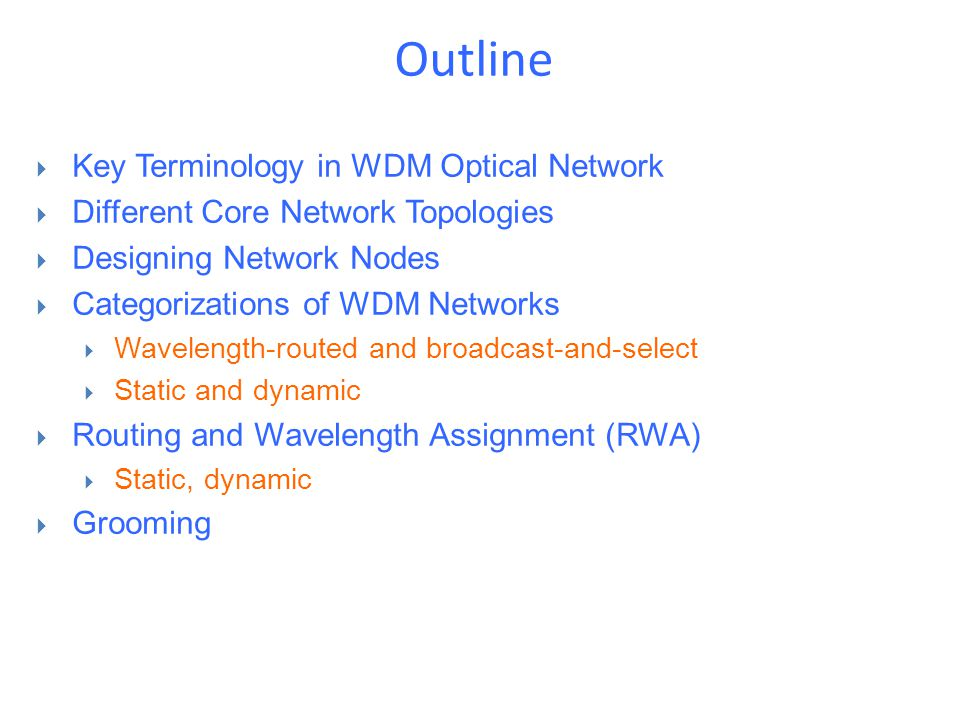 Outline Key Terminology in WDM Optical Network