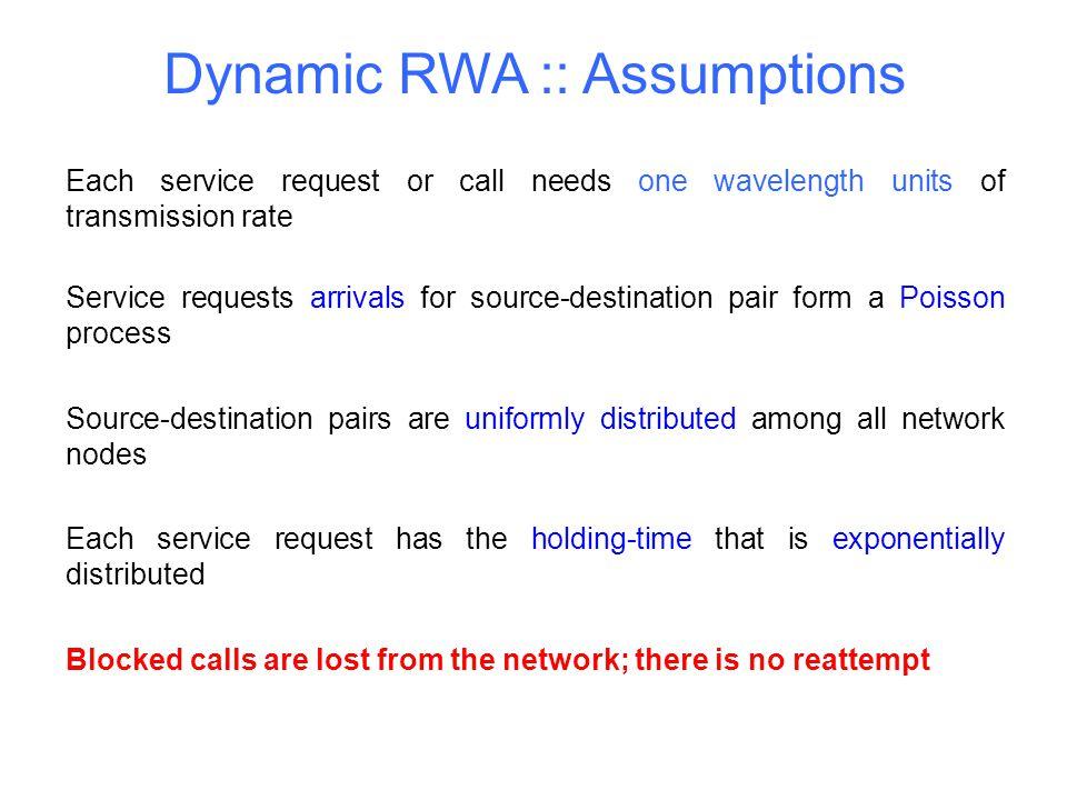 Dynamic RWA :: Assumptions
