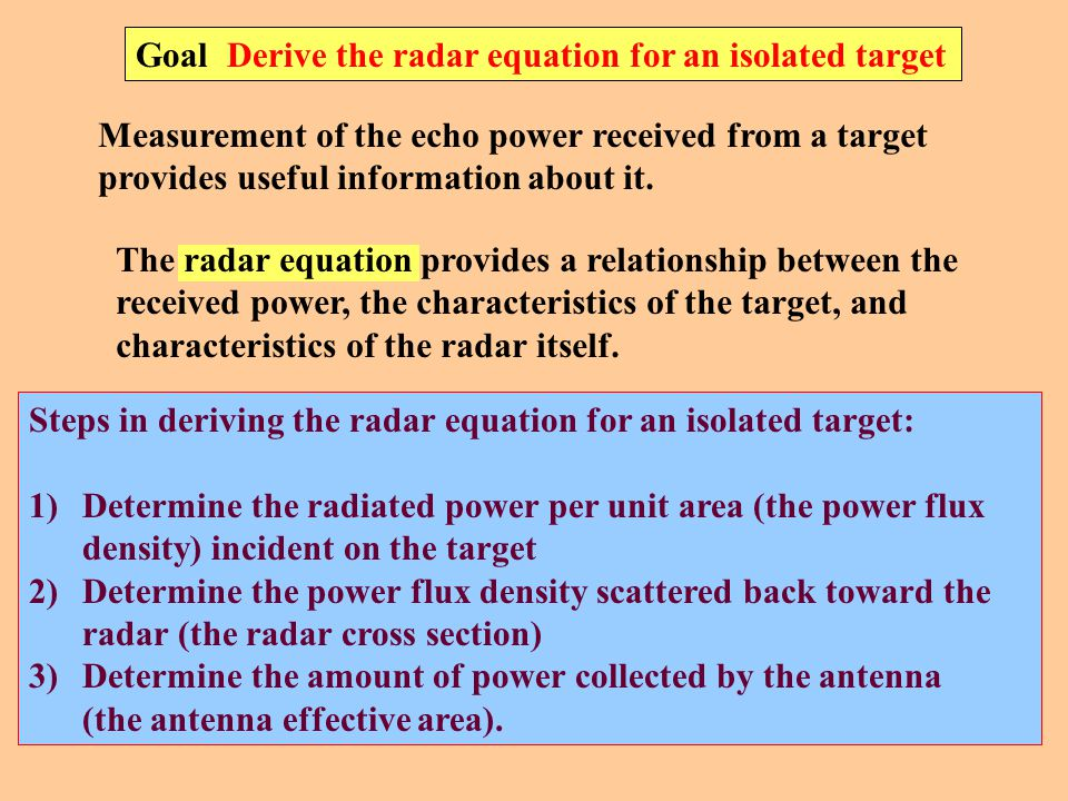 Goal Derive the radar equation for an isolated target