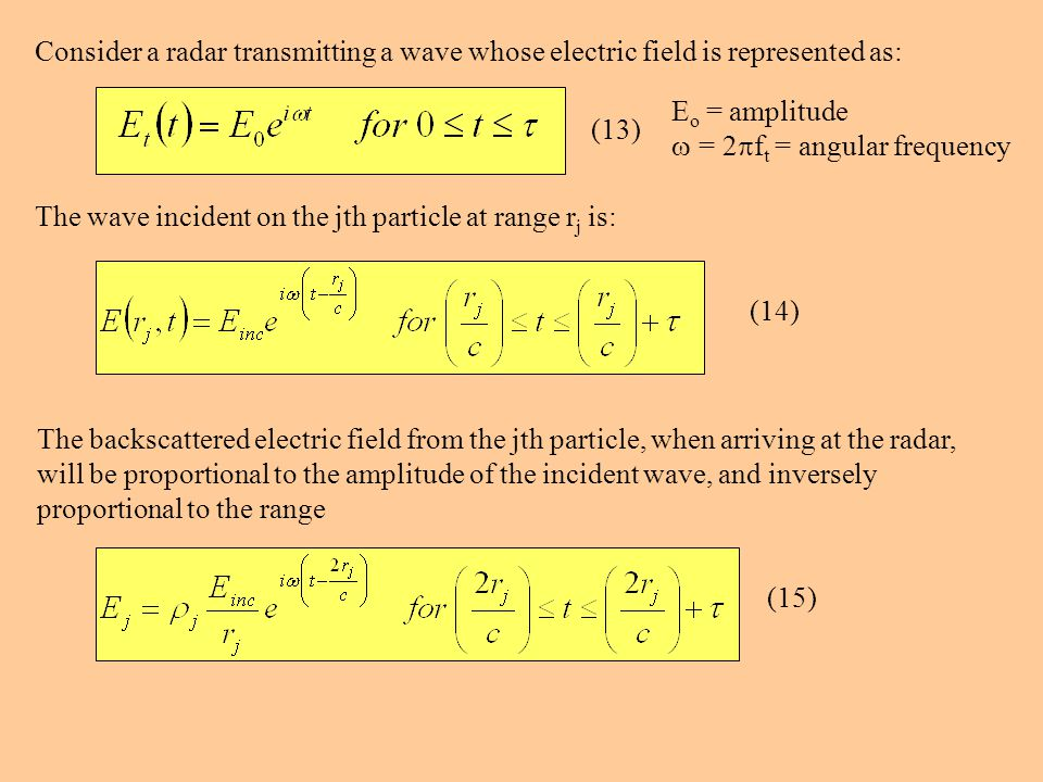 Consider a radar transmitting a wave whose electric field is represented as: