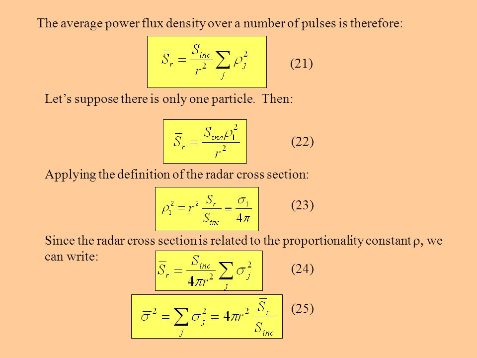 The average power flux density over a number of pulses is therefore: