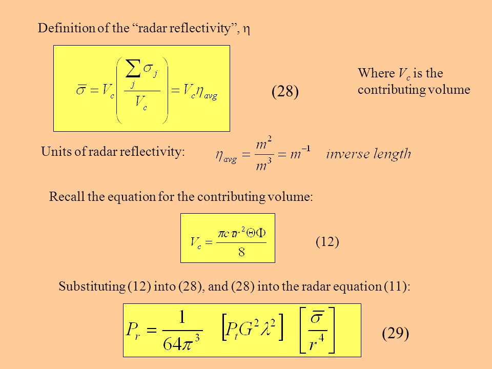 (28) (29) Definition of the radar reflectivity , h